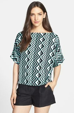 Milly Print Stretch Silk Top available at #Nordstrom