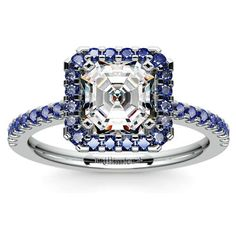 Love a good sapphire Halo setting, with perfect blue gemstones surrounding a gorgeous diamond? Discover the ultimate Something Blue treat: The Halo Sapphire Gemstone Engagement Ring in sturdy Platinum by Brilliance, featuring a sparkling Asscher-cut center diamond! http://www.brilliance.com/engagement-rings/halo-sapphire-ring-platinum
