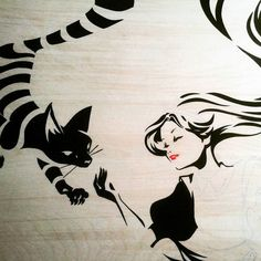 Something new....#Alice & #Cheshire #Cat. 30x40 on wood. Work in progress pic of a painting that is currently finished & on its way to Wonderground Gallery Downtown Disney. Anaheim. Come by to the Opening March 5th :-) by shomoo