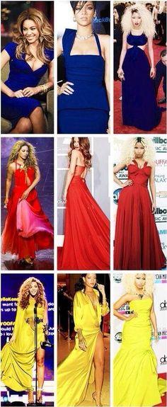 Blues, Reds, & Yellows of Beyonce, Rihanna, & Nicki Minajღ #Fandom #Random #Singers