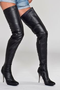 High Heel Crotch Thigh Boots With Platform Black Suede And