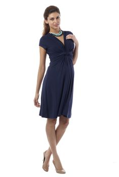 Seraphine Jolene Knot Front Maternity And Nursing Dress - Short Sleeve | Maternity Clothes www.duematernity.com