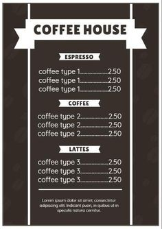 A transparent image of coffee beans in the background and white font to make it easy to read. Create your own cafe menu template in minutes. Menu Template, Templates, Coffee Images, Cafe Menu, Coffee Type, Espresso Coffee, Coffee Beans, Latte, Create Your Own