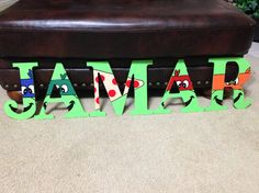 Ninja Turtle Custom Wooden Letters Letter A Crafts, Painted Letters, Wood Letters, Monogram Letters, Ninja Turtle Room, Ninja Turtle Party, Ninja Turtles, Letter Door Hangers, Ninja Party