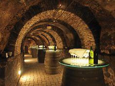 Creative and elegant wine barrel table idea for a wine room or cellar! Wine Cellar Design, Wine Design, Design Design, Wine Cellar Basement, Home Wine Cellars, Bar A Vin, Deco Restaurant, Restaurant Interiors, Wine Tasting Room