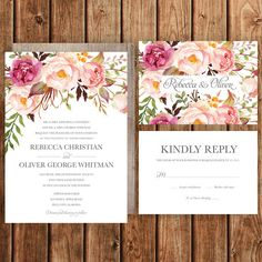 Rustic Wedding Invitation, Pink, Magenta, Blush, Roses, Floral, Spring Wedding, Fall Wedding, Woodland, Bohemian, Betty Lu Designs by BettyLuDesigns on Etsy https://www.etsy.com/listing/222130400/rustic-wedding-invitation-pink-magenta