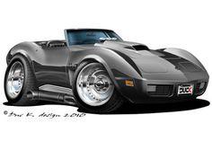 74 chevy corvette cartoon car
