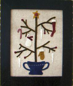 Primitive Folk Art Wool Applique Pattern by PrimFolkArtShop Primitive Quilts, Primitive Patterns, Primitive Folk Art, Primitive Crafts, Wool Applique Patterns, Felt Applique, Christmas Sewing, Noel Christmas, Felt Crafts