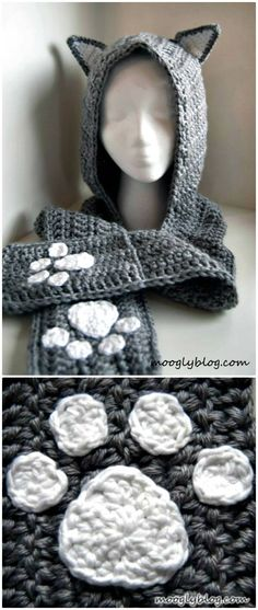 Free Crochet Cuddly Cat Scoodie With Pockets – Hooded Scarf Pattern - 31 Free Crochet Hooded Scarf Patterns - DIY & Crafts