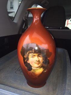 "Rare 11"" Cac  Lenox American Belleek Rembrandt Portrait Vase"