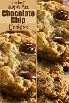The Best Sugar Free Chocolate Chip Cookies Recipe Sugar Free Deserts, Sugar Free Treats, Sugar Free Cookies, Sugar Free Recipes Dinner, Sugar Free Cookie Recipes, Sugar Free Muffins, No Sugar Desserts, Sugar Free Chocolate Chip Cookie Recipe, Choco Chips