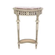 19th C. French Antique Louis XVI style Demilune Painted Console