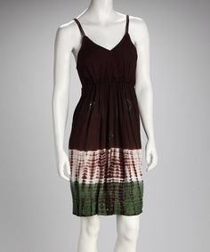 Take a look at this Chocolate & Lime Tie-Dye V-Neck Dress by Raya Sun on #zulily today!