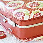 Mod Podge suitcase tutorial - Made a 1950s train case for my granddaughter with matching dress for her and for her American girl doll in bright yellow. Easy for her mom to spot her things when traveling