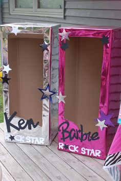 I made these Barbie & Ken Rockstar boxes for Cali's 4th Birthday! All the kids loved posing for pictures in them.