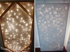 Canvas...apply decals (or make your own from cardstock) with glue...paint over...remove decals...attach lights on the back. {from imtopsyturvy.com} - instructions!