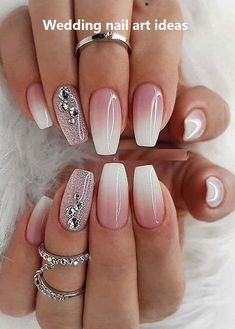 Superb Nail Designs for Women in Year 2019 - Nails Styles - Nageldesign Nagellack Design, Bridal Nail Art, Ombre Nail Designs, Ombre Nail Art, Sparkle Nail Designs, Fancy Nails Designs, New Years Nail Designs, Awesome Nail Designs, How To Ombre Nails