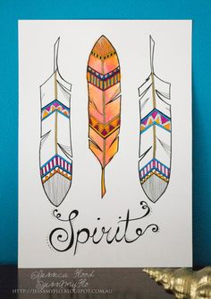 Original tribal feathers watercolor and ink by JessAmyFlo on Etsy