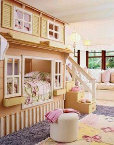 A.d.o.r.a.b.l.e child room idea. Play house/ bed.... Sooo cute.