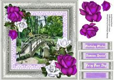 Japanese Bridge and Roses, by Ceredwyn Macrae A lovely card in a lovely silver frame to make and give to anyone with a Japanese Bridge and Roses has three greeting tags and a blank one ,