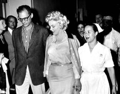Marilyn Monroe and Arthur Miller leave Lennox Hill Hospital, 1959.