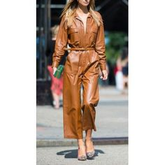 #Womens #Fashion #Loose #Fit #Real #Brown #Leather #jumpsuit #Overall Leather Overalls, Leather Jumpsuit, Rompers Women, Jumpsuits For Women, Brown Jumpsuits, Leather Catsuit, Leder Outfits, Brown Outfit, Dope Outfits