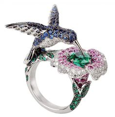 Boucheron HUMMINGBIRD & FLOWER RING IN GORGEOUS COLOURED GEM-STONES<3<3<3