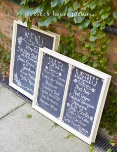 Custom Drink  Food Chalkboard Menus shown without easels. Made with up-cycled vintage windows. Handmade by: CoachHouseCraft on Etsy