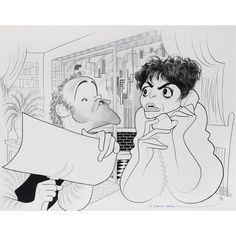 "Al Hirschfeld ~ Jack Lemmon and Anne Bancroft in ""The Prisoner of Second Avenue"""