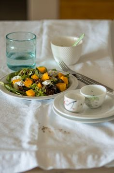 roast pumpkin and lentil salad with yogurt