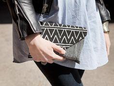 Elise Bergman | Spring 2013 Street Style Awards. black and white aztec printed clutch