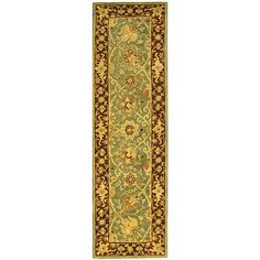 Safavieh Handmade Traditions Teal/ Brown Wool Runner (2'3 x 8'), Green, Size 2'3 x 8' (Cotton, Border)