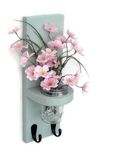 Wall Sconce with Jar Vase and Key Hooks