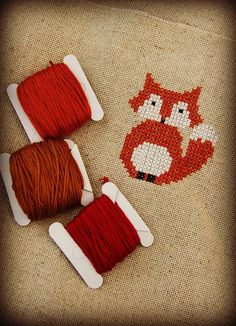 Foxy cross stitch by Katia Donohow of Plushka.