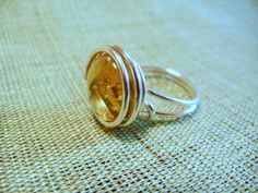 Sterling Silver Wire Wrapped Topaz Cabochon by BumbleberryJewelry, $18.00