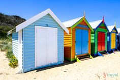 Colorful change rooms of Brighton Beach, Melbourne, Australia