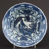 MING PORCELAIN. WANLI or TIANQI c.1600 - 1627 Kraak Porcelain A Ming Blue and White Porcelain Kraakware Klapmuts, Late Wanli or Tianqi c.1600-1620. The Typical Kraak Decoration of Panels and Taotie Masks with a Central Design of a Landscape with a Bird on a Rock.