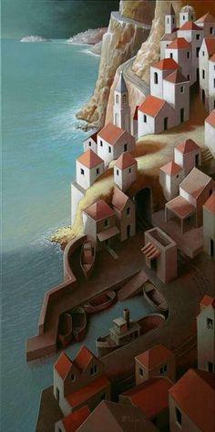 Michiel Schrijver (Dutch, born 1957, Surreal architecture painter, acrylic on canvas)