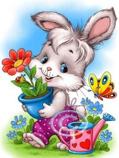 the land of bunnies Cartoon Cartoon, Animal Pictures, Cute Pictures, Ostern Wallpaper, Cute Little Animals, Cute Illustration, Fabric Painting, Cute Drawings, Cute Art