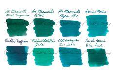 2ml samples of 8 of our most popular blue-green-teal fountain pen ink colors. This set includes: De Atramentis Mint Turquoise, De Atramentis Petrol, De Atramentis Pigeon Blue, Diamine Marine, Noodler's Turquoise, Pelikan Edelstein Jade, Pilot Iroshizuku Ku-jaku, and Private Reserve Blue Suede.
