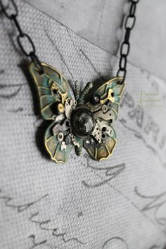 Steampunk Stone Flutter Steampunk Butterfly - Necklaces
