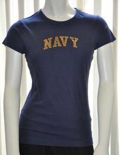 Womens Blue w Gold NAVY T Shirt Top GFS COED Size Juniors Medium M Preowned