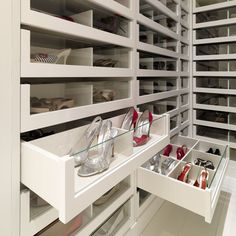 Great way to keep the shoes dust free but still completely visible. Great show closet. Only thing I'd change is to make the drawers deep enough so that the shoes are facing front