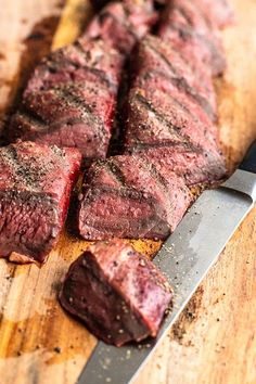 Smoked Venison Tenderloin - Miss Allie's Kitchen - sliced venison tenderloin on a wood board - Deer Tenderloin Recipes, Venison Tenderloin, Venison Steak, Beef, Smoked Venison Recipe, Smoked Meat Recipes, Venison Recipes, Backstrap Recipes, Venison Backstrap