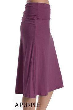 Sexy Jersey Knit Slim Pencil Band Waist Stretch A-Line Knee Length Maxi Skirt