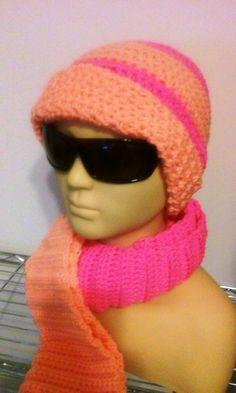 Ladies Hat/Scarf Set / Beanie / Hat / Scarf / Peach by GrammaLeas