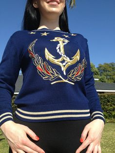 80s Anchor Stars Nautical Sweater Blouse 36 Bust by CAGirlVintage, $44.00