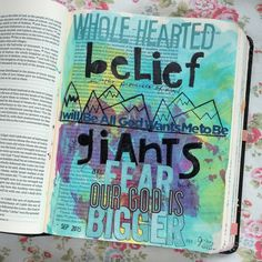 For this journaling Bible post I stepped way outside my comfort zone – it seemed that the pretty pastel colors that I usually use just weren't right for a page about giants! I wanted it to make a statement in…