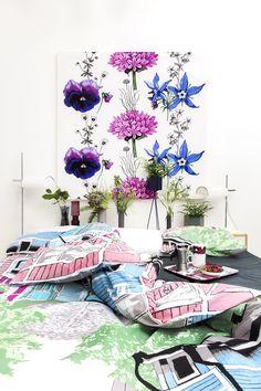 Villisalaatti fabric by Tanja Orsjoki, Rauma bed set by Riina Kuikka