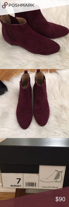 Banana Republic Chelse Bootie New in box. Never worn. Scallop design. Burgundy. Suede bootie. Banana Republic Shoes Ankle Boots & Booties